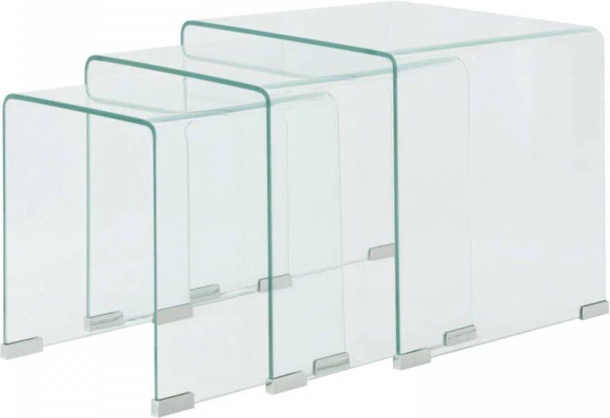 Bijzettafel Van Glas.Vidaxl Bijzettafel Set 3 Dlg Transparant Gehard Glas
