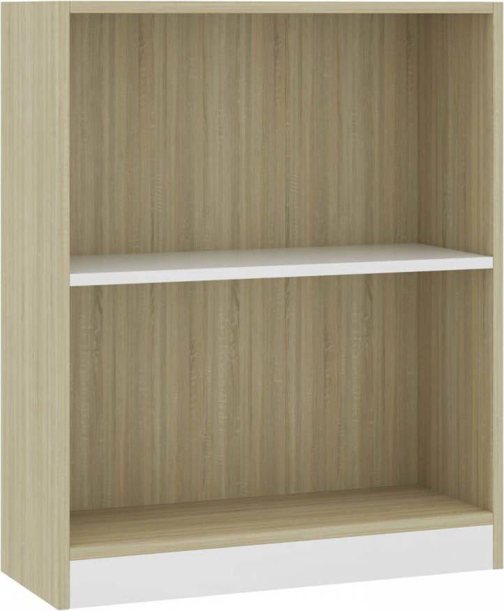 VidaXL Boekenkast 60x24x74,5 Cm Spaanplaat Wit En Sonoma Eikenkleurig online kopen