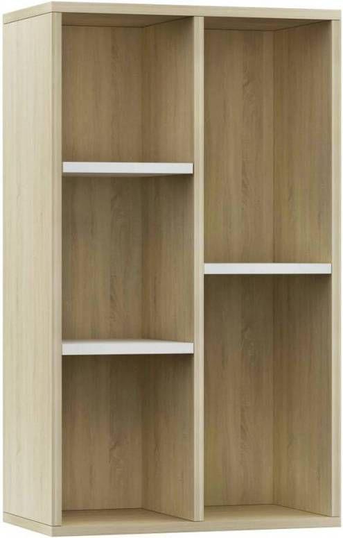VidaXL Boekenkast/dressoir 50x25x80 Cm Spaanplaat Wit En Eikenkleurig online kopen