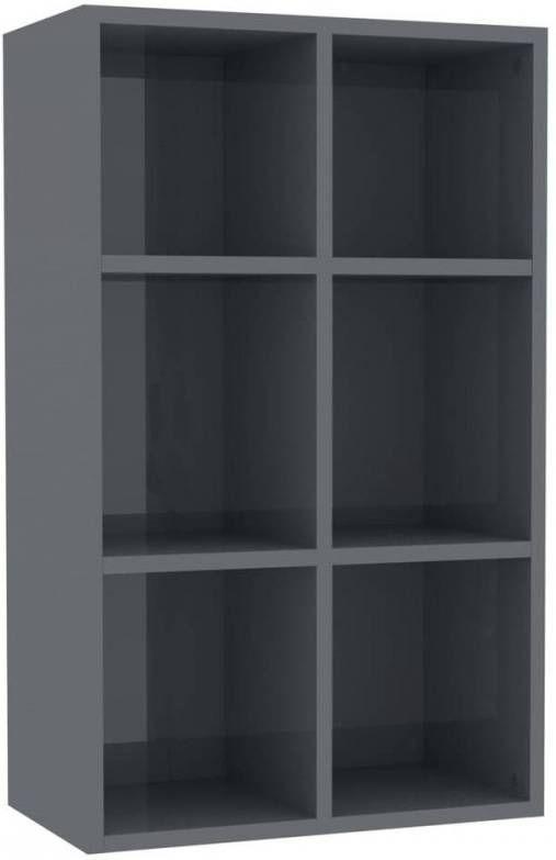 VidaXL Boekenkast/dressoir 66x30x97,8 Cm Spaanplaat Hoogglans Grijs online kopen