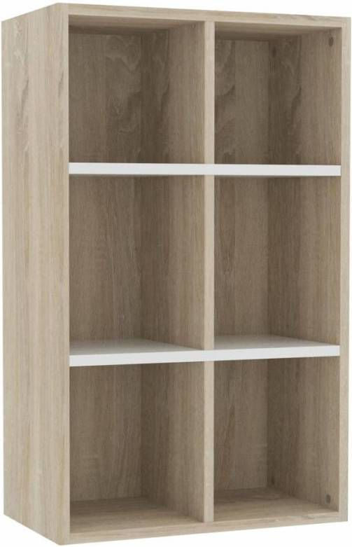 VidaXL Boekenkast/dressoir 66x30x97,8 Cm Spaanplaat Wit Sonoma Eiken online kopen