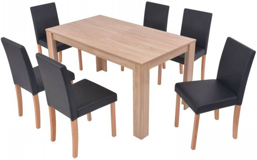 Hedendaags VidaXL Eettafel met stoelen kunstleer en eikenhout zwart 7 st UW-37