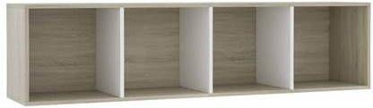 VidaXL Boekenkast/tv-meubel 143x30x36 cm wit en sonoma eikenkleurig online kopen