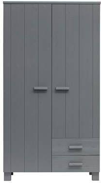 Woood Dennis Kast Met Laden Grenen Steel Grey Geborsteld [Fsc] online kopen