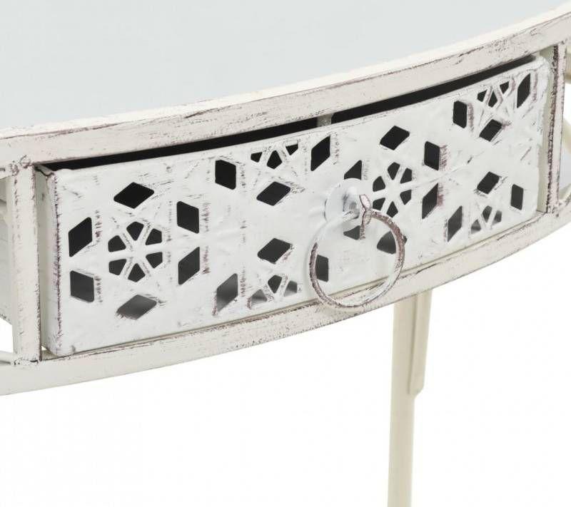   Bijzettafel Franse stijl 82x39x76 cm metaal wit