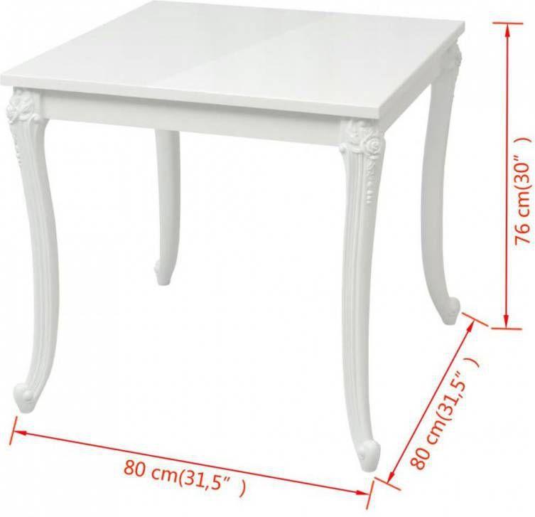 | vidaXL Eettafel 80x80 cm Wit