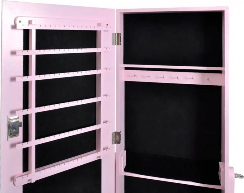 Vidaxl Sieradenkast Met Spiegel 146 X 37 X 46 Cm Roze