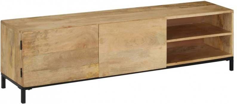 Tv Meubel Plank.Vidaxl Tv Meubel 145x35x60 Cm Massief Mindihout Meubelmooi Nl
