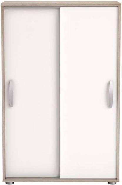 Witte Opbergkast Met Schuifdeuren.Demeyere Kast Nano Met Schuifdeuren Licht Eiken Wit 105 6x68x32 9 Cm
