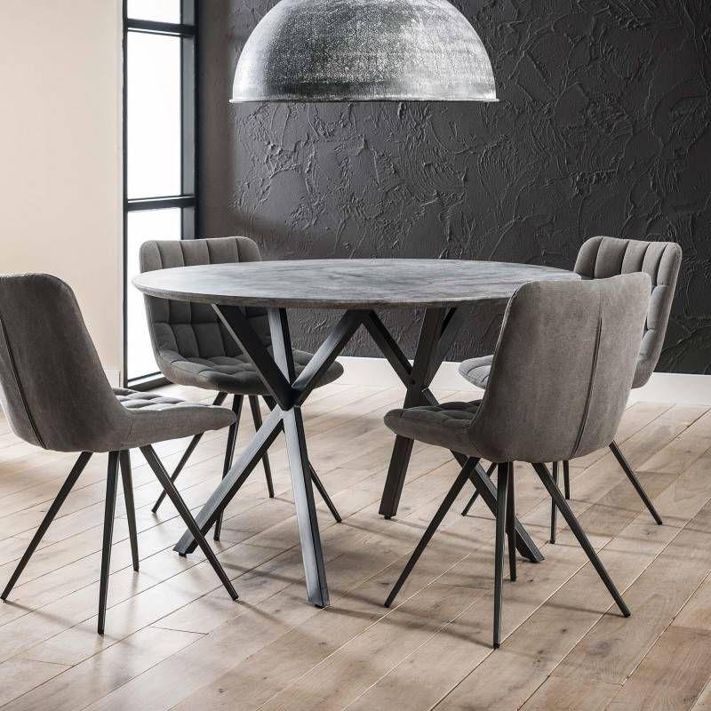 LifestyleFurn Ronde eettafel 'Nola' 120 cm, 3D-betonlook, kleur grijs online kopen