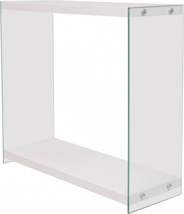 Sidetable Gehard Glas.Vidaxl Wandtafel Met Schap Glas Mdf Eikenkleur